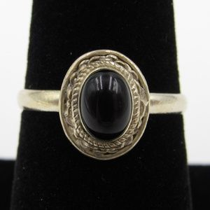 Vintage Size 7.25 Sterling Rustic Black Stone Ring